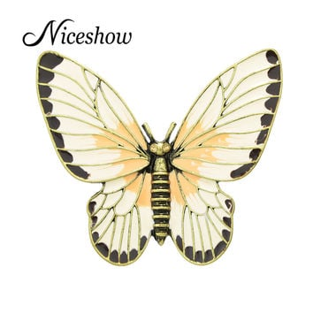 Fashion Jewelry Retro Style Antique Gold Beige Orange Enamel Butterfly Lovely Girl Insect Brooch Fashion Women Accessories