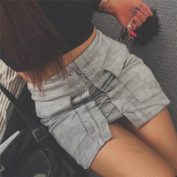 Strappy Lace Up Suede Gray Skirt