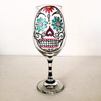 Sugar skull wine glass 20 oz