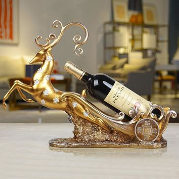 Table wine rack decoration creative living room TV cabinet deer decoration European wine cabinet accessories wine rack WL5071430