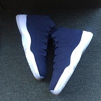 Nike Air Jordan Retro 11 Navy Suede Derek Jeter Re2pect Men Sneakers Men Sports Shoes 351792-147