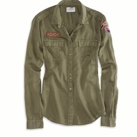 AE Army Patch Button Down, Olive | American Eagle Outfitters
