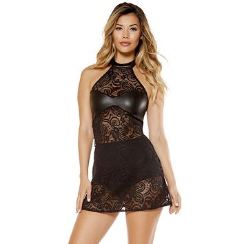 Tiffany 2 Piece Lace Haltered Neck Dress and High Waisted Shorts