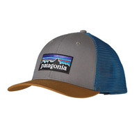 Patagonia P-6 Logo Trucker Hat- Feather Grey with Bear Brown