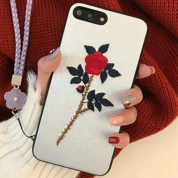 Embroidery flowers iPhonplus phone shell lanyard iPhonesp protective sleeve female models Apple X drop i soft shell Silver
