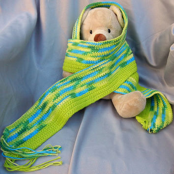Cotton Crochet Scarf Green Turquoise and Yellow by CroweShea
