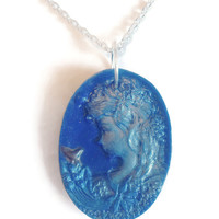 Discounted Cameo Pendant, Polymer Clay Jewelry, Victorian Blue Pearl Ex, Silver Chain, Proceeds to Charity