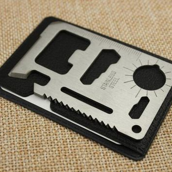 Camping Pocket Military Credit Card Knife. Multi Tools 11 in 1 Multifunction Outdoor Hunting Survival Camping
