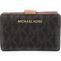 Michael Kors Jet Set Travel Bifold Zip Coin Wallet - Brown/Acorn