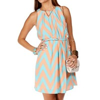 Peach/Baby Blue Chevron Shift Dress
