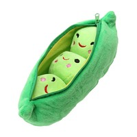 20CM Kids Baby Plush Toys for Children Girls Cute Green Pea Stuffed Plant Beans Doll for Girls Gift Toy