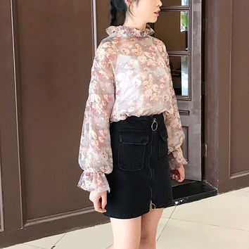 New Arrival Women Shirts Sweet Colorful Floral Chiffon Blouse Puff Sleeves Shirt Ruffles Blouses Woman Tops Plus Size 72727 GS
