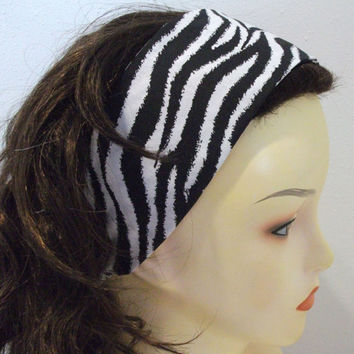 Zebra Print Wide Fabric Headband Reversible Wrap Around Head Wrap