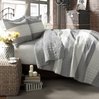 Lush Decor Berlin Stripe 3-Piece Quilt Set, King, Gray