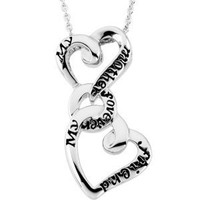 Sterling Silver My Mother Forever My Friend Pendant with Ster Chain (Reversible)