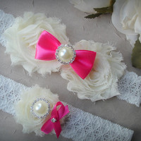Bridal Garter,Make Your Own Garter ,Wedding Garter Set, Swarovski Crystal garter, Bright Pink Garter, Ivory Bridal Garter Set,