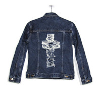 XS / Distressed Denim Jacket / Hipster Cross Cut Out Back Jacket / Vintage Jean Jacket