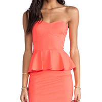 Amanda Uprichard Strapless Peplum Dress in Orange
