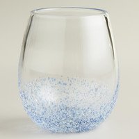 BLUE CONFETTI STEMLESS WINE GLASSES, SET OF 4