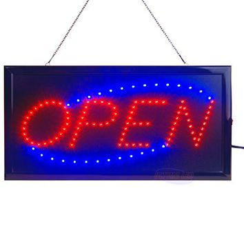 Neon Sign OPEN, AGPtek Fitnate LED business open sign advertisement board Electric Display Sign, Two Modes Flashing & Steady light, for business, walls, window, shop, bar, hotel