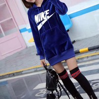 nike women casual fashion letter logo print middle long section long sleeve hooded sweater mini dress