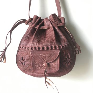 Fine Quality Embossed Leather and Vintage Turkish -  Cross Body Bag / Shoulder Strap