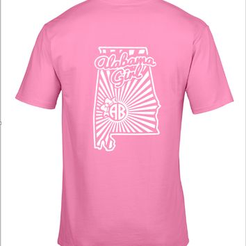 Alabama Girl Monogram Shirt - Pink and White