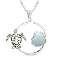 Amulet Cute Sea Turtle Magic Circle Heart Medallion Simulated Opalite 22 Inch Pendant Necklace