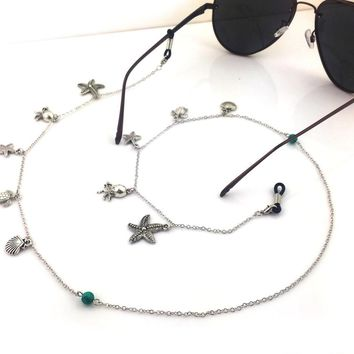 Womens Ocean style Retro Vintage Casual Eyeglass Eyewears Sunglasses Reading Glasses Chain Cord Holder neck strap Rope