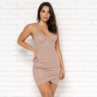 Let's Dance Sparkle Bodycon Dress in Blush