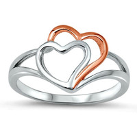 .925 Sterling Silver and Rose Gold Double Open Heart Ring Ladies Size 4-10