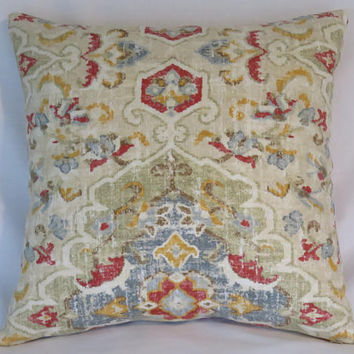 "Blue Red Yellow Carpet Style Print Pillow Cover, 17"" Square Linen Blend, Covington Jaipur Fabric, Colorful Distressed Medallion on Beige"