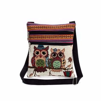 Embroidered Owl Tote Bags Women Shoulder Handbag