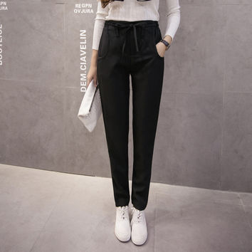 Korean High Waist Plus Size Casual Pants [8664669831]