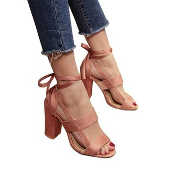 Hot Sales High heels Shoes Women,Haoricu Fashion Women Cross Straps Sandals Ankle High Heels Wedge Block Party Open Toe Ladies Shoes