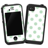 "Spring Green Polka Dot on White ""Protective Decal Skin"" for LifeProof 4/4S Case"