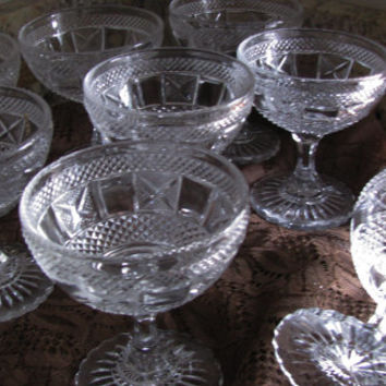 Beautiful Pressed Glass Vintage Sherberts, Set 8, Compliments Any Home Decor, Perfect Wedding Gift