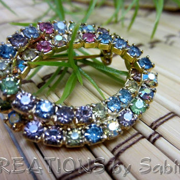 Vintage Rhinestone Double Wreath Brooch / Gold Metal Oval / Pink Green Blue Purple Yellow Fancy Elegant Classy Dressy / FREE SHIPPING (191)