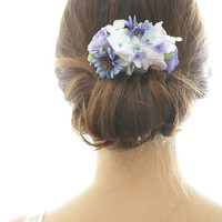 Bridal Hair Accessory, Vintage Blue Daisy & Hydrangea, Silk Flower Hair comb, Bridesmaid gift, Rustic Chic Romantic outdoor wedding woodland
