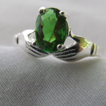 Proposal Love Token Lovely Victorian Hand Ring Victorian Emerald Ring Green Sterling Silver sz 7.25 Emerald Ring Promise Ring