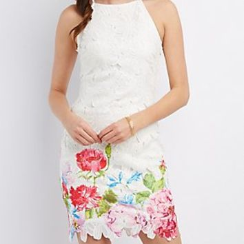 FLORAL CROCHET BIB NECK DRESS