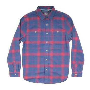 Roadtrip Plaid Long Sleeve 2 Pocket Shirt in Blue/Red by True Grit