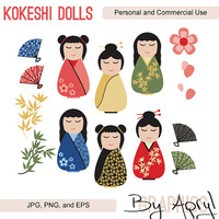 Japanese Kokeshi Dolls Clipart Commercial Use Vector Graphics Digital Clip Art Digital Images Royalty Free JPG PNG EPS 10
