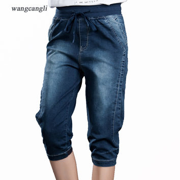 Women's jeans cotton large size jeans female summer pant Slim thin slits bow pants elastic waist big yard stretch pants feet 5XL