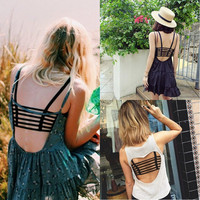 Sexy Women Cut Out Cage Back Backless Crop Cami Top Bralette Bra Bustier