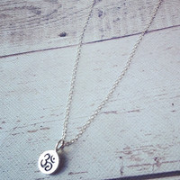 sterling silver om necklace , custom jewelry, yoga charm, personalized necklace,charm necklace initials