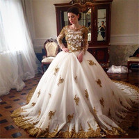 Romantic Princess Ball Gown Arabic Vintage Wedding Dresses  Gold Lace Appliques Long Sleeve