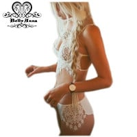 BellyAnna 2016 Summer New Sexy Women Underwear White Elegant Eyelash Lace Floral Embroidery Crochet Patchwork And Panty Sets