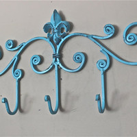 Iron Wall Hook /Aqua Blue / Fleur de lis metal decor/ Key Hanger/ Painted Coat Rack/ Towel Holder