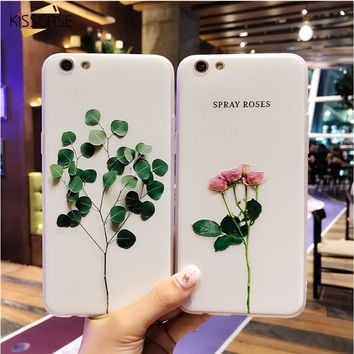 KISSCASE 3D Case For iphone SE 5S 5 Case Relief Leaf Cute Plants Leaves Flower Phone Cases For iPhone X 6 S 7 8 Plus Accessories